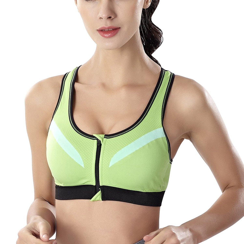 Etosell Women Zip Up Bra High Impact Full Support Workout Sports Bra Yoga Fitness Running Bra