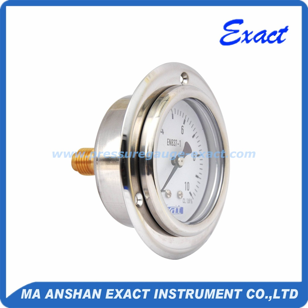 2.5'' stainless steel oil filled pressure gauge with front flange