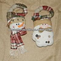 Christmas snowman head and santa head hanging doll decoration