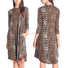 2017 New Arrivals Dresses Seam Pockets O Neck Long Sleeves Brown Leopard Knee Length Midi Dress