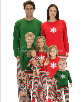 2016 hot sell childrens christmas pajamas with red and green top with striped pants