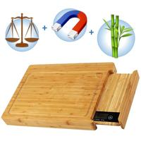 Bamboo Chopping Cutting Board with Digital Kitchen Scale & Magnetic Knife Holder - Eco-Friendly and Safe & Sturdy Smart Groove