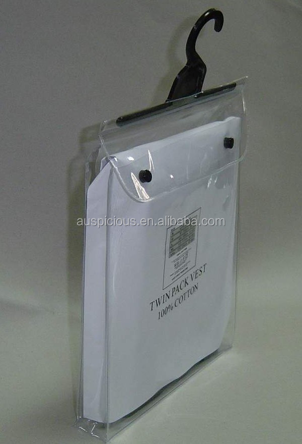 Side gusseted pvc bag with plastic hanger for garments