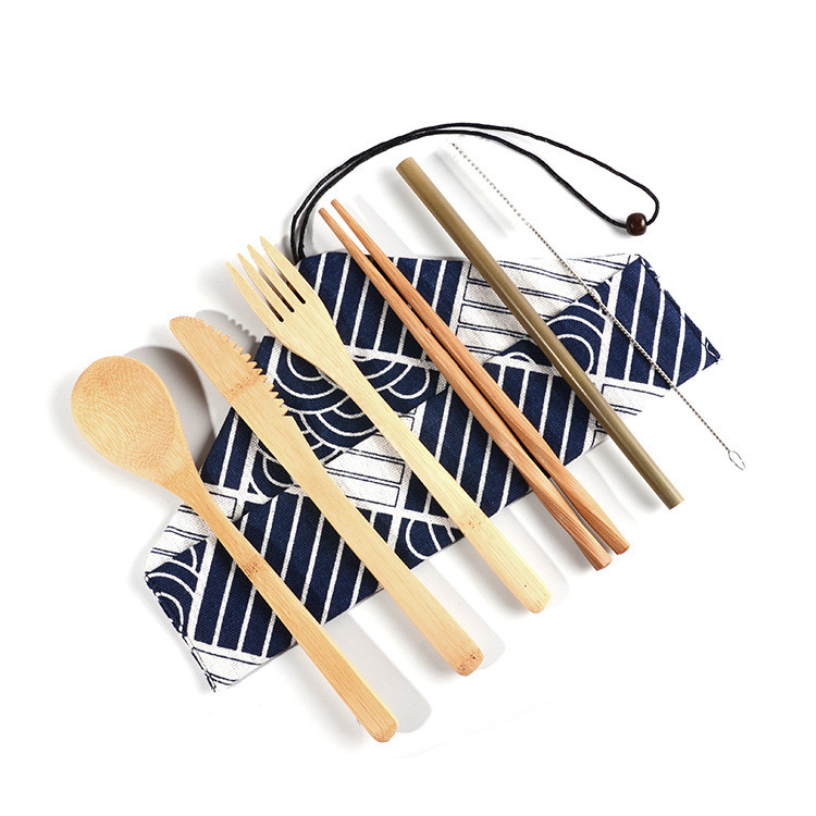 7Pcs/set Travel Portable ECO Friendly Reusable Natural Bamboo Cutlery Sets With Knife Fork Spoon Chopsticks Straw Cleaning Brush