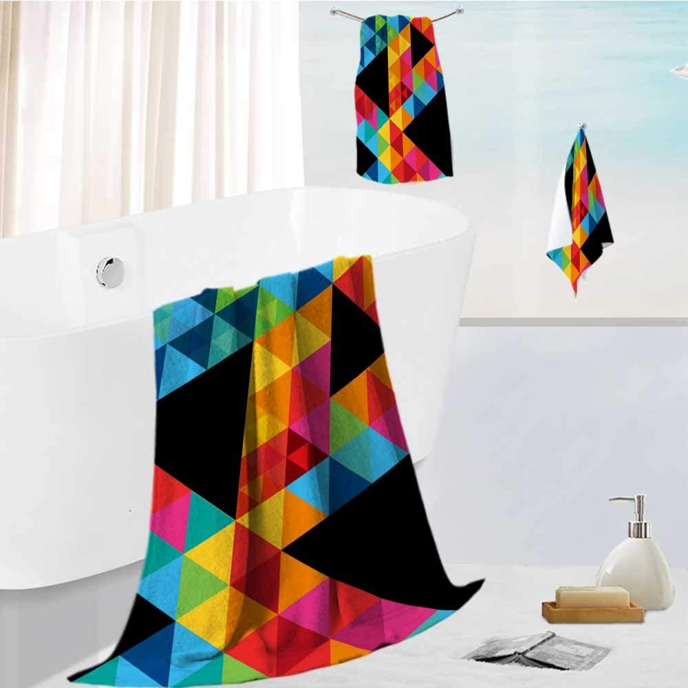 AmaPark Family Big Bath Towel set abstract geometric shapes and patterns backgrond vector illustration Printing Print Bath Towel Super Absorbent Body Wrap Pool Towel