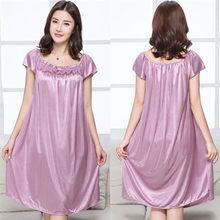 Летняя Сексуальная атласная ночная рубашка, однотонная женская ночная рубашка с шелковым ремешком, Женская атласная ночная рубашка размер...(Китай)