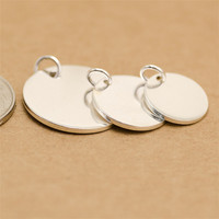Custom Logo Circle Shape Tags 10/12/15mm sterling silver round blank pendant