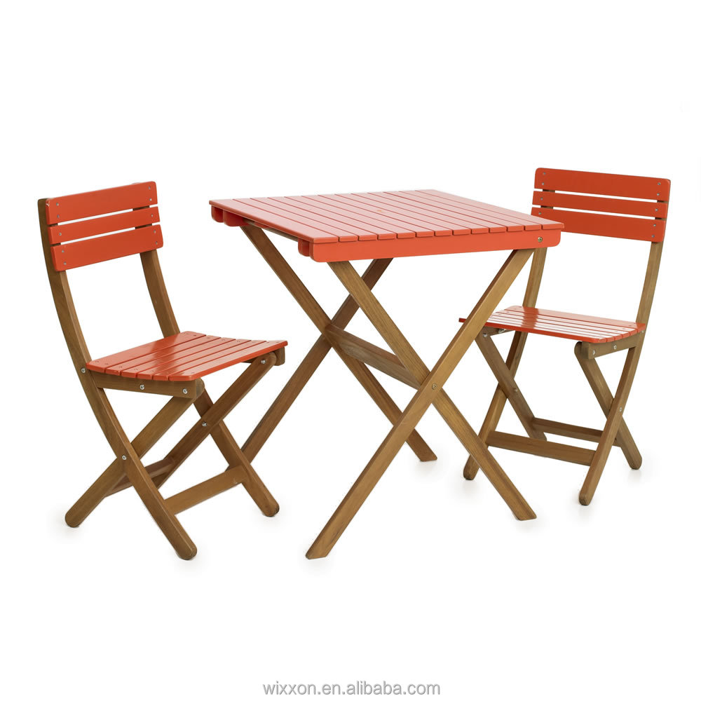 Wooden folding garden table set chair set wooden bistro for Table and chair set