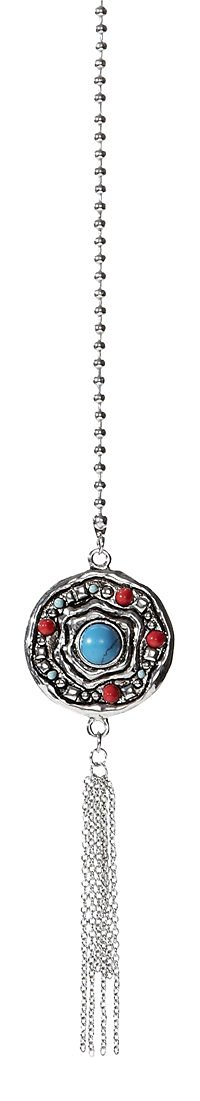 Ganz Solid Metal Fan Pulls - Elegant Pull Chain Charm - Silver Tone With Decorative Turquoise Eye
