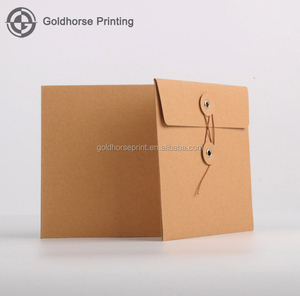 Custom Made Gift Button and String Envelope Brown Kraft Paper Envelope With Logo Sinicline black custom luxury packaging paper