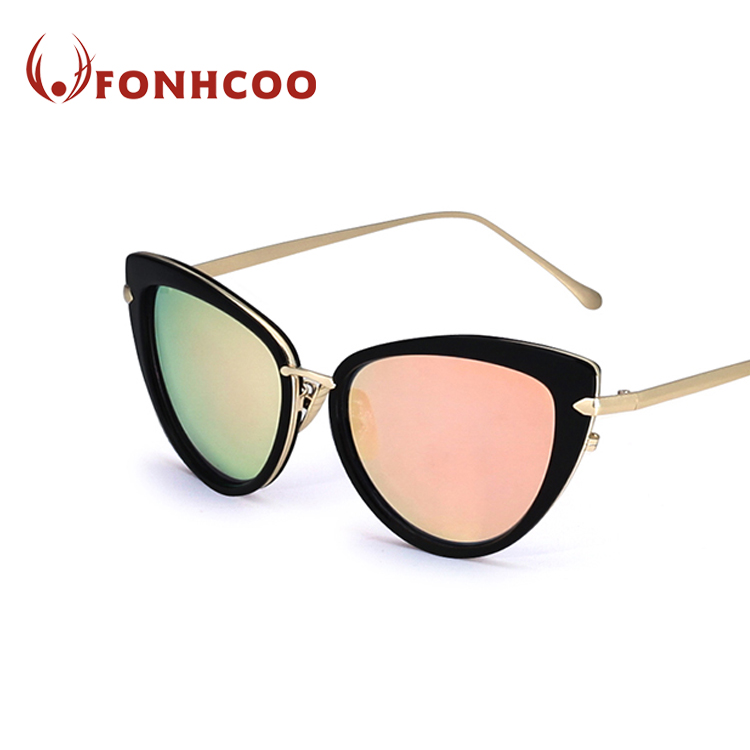 FONHCOO Popular Fashion Customized High Quality Oval Frame High Level Metal Sunglasses Brand Sun Glasses For Women