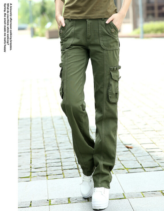 ae0ba8b7a87 Get Quotations · 2015 New army green women trousers multi pocket cargo  pants womens trousers Military Straight overalls for