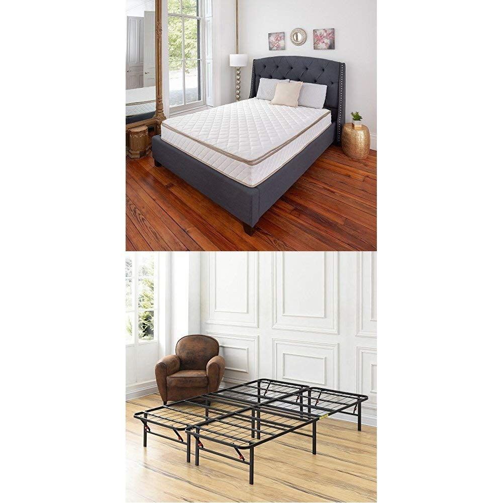 Classic Brands Individually Wrapped Coils Innerspring Pillow Top 10-Inch Mattress with Hercules Heavy-Duty 14-Inch Platform Metal Bed Frame, Queen
