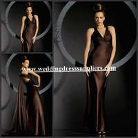 BMD107 Newest Straps Deep V-Neck Open Back Ruffles Sheath Ribbons In Back Ankle -Length Chap Bridesmaid Dress