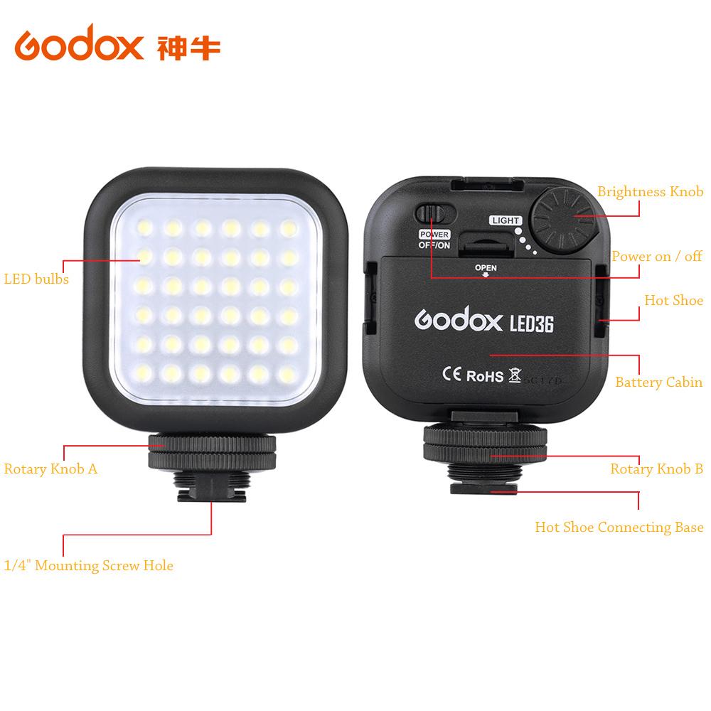 Оригинальный Godox LED36 из светодиодов видео 36 из светодиодов лампы фотографическое освещение 5500 ~ 6500 К для камеры DSLR видеокамер мини-dvr