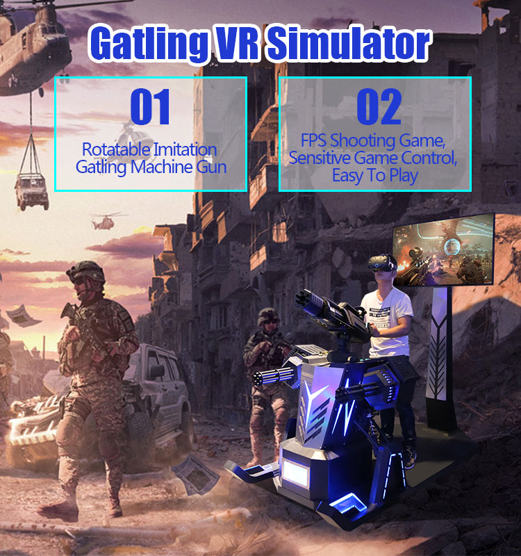 FunInVR Vr Gatling simulator Shooting 9dVr Gun Shooting Game Virtual Reality Simulator with DPVR Headset