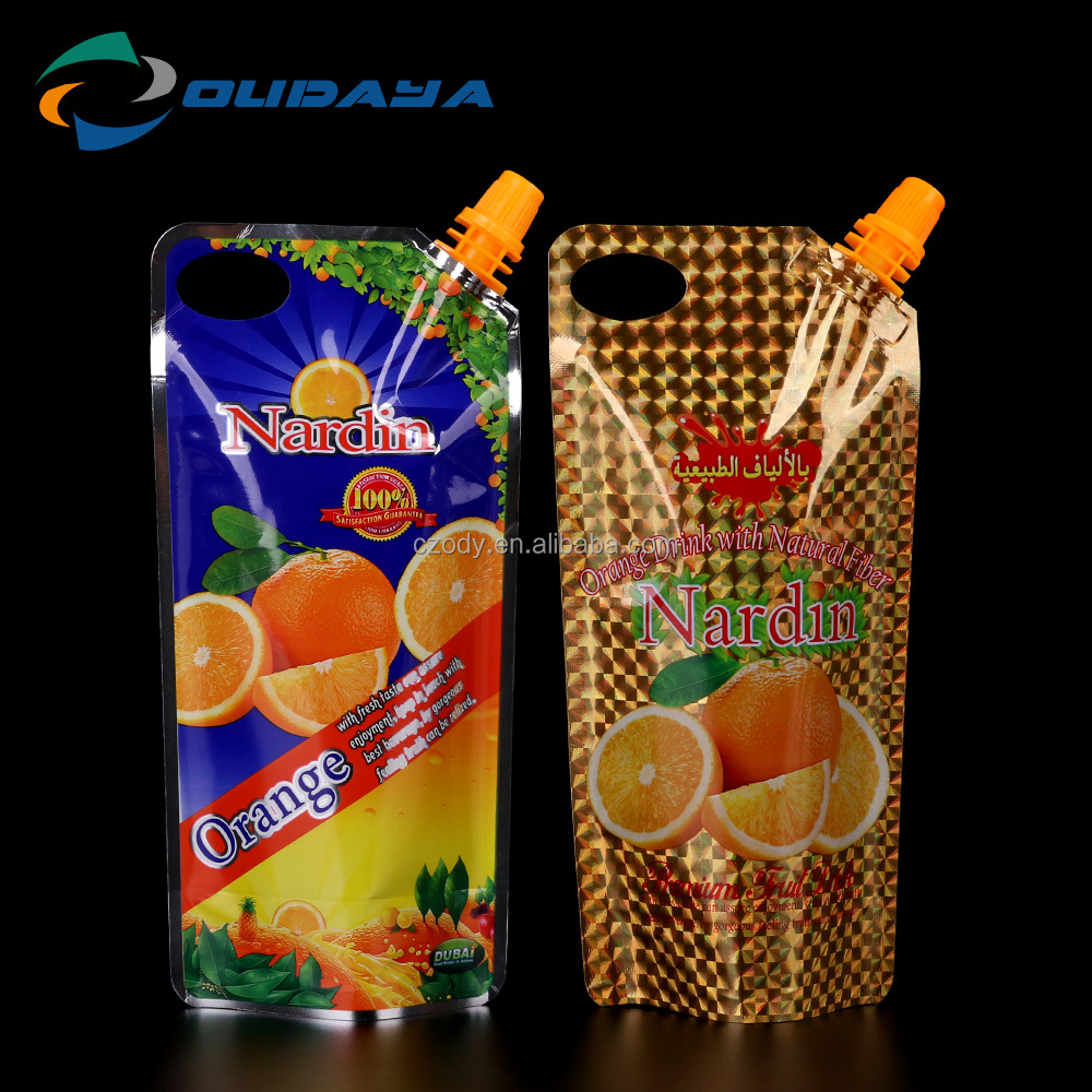 Fiber beverages package spout plastic pouch bag manufacturer