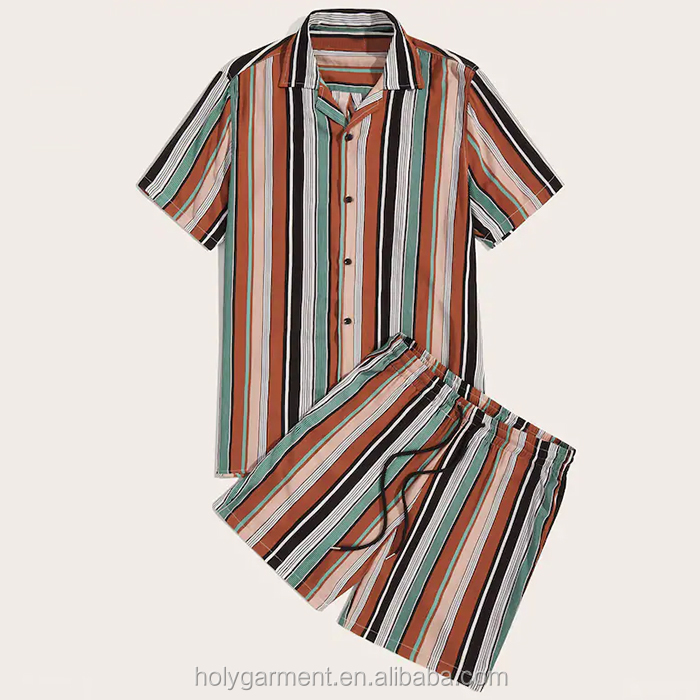 wholesale 2 piece mens summer sets striped tee with shorts set