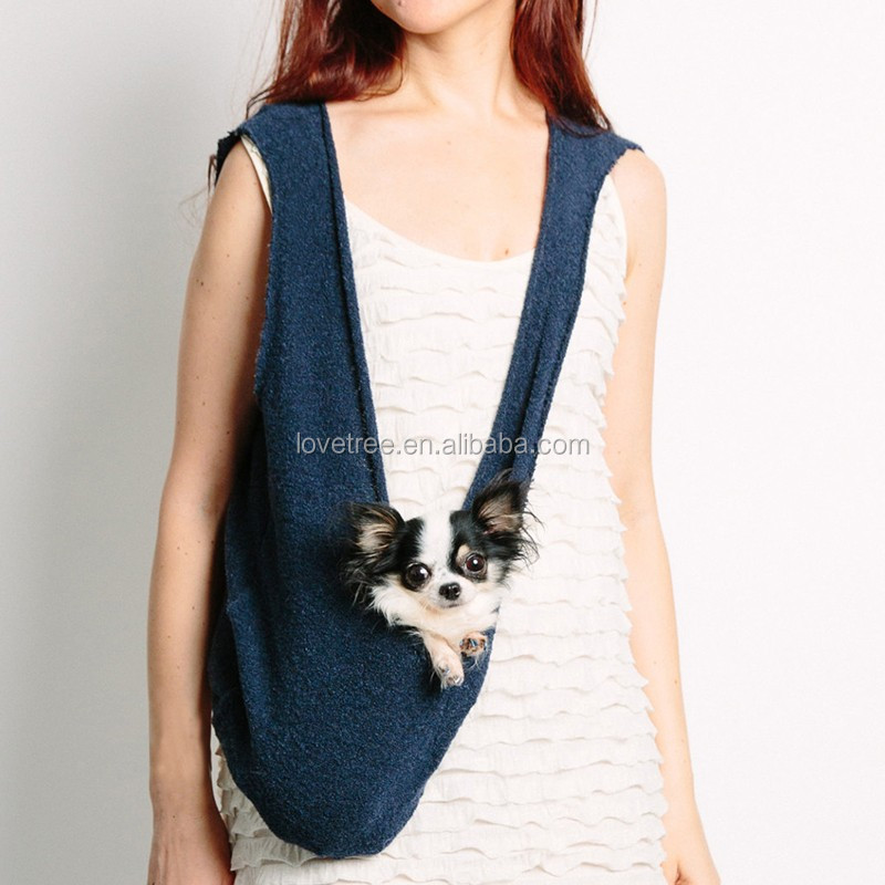 Knit Dog Carrier Sling Dog Carrier Tote Bag with pocket and Harness a Clip