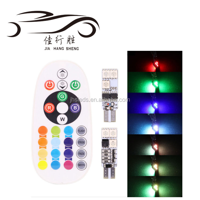 Super bright RGB T10 Car Led Bulb 6SMD 5050 Led Bulb for Car with Remote Controller