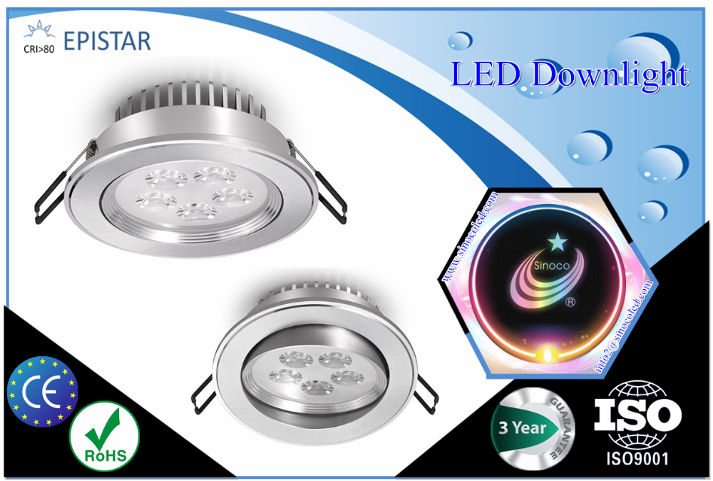 ce tuv saa ul approved aluminum body led downlight lamp, dimmable downlight reflector, recessed downlight led 10w