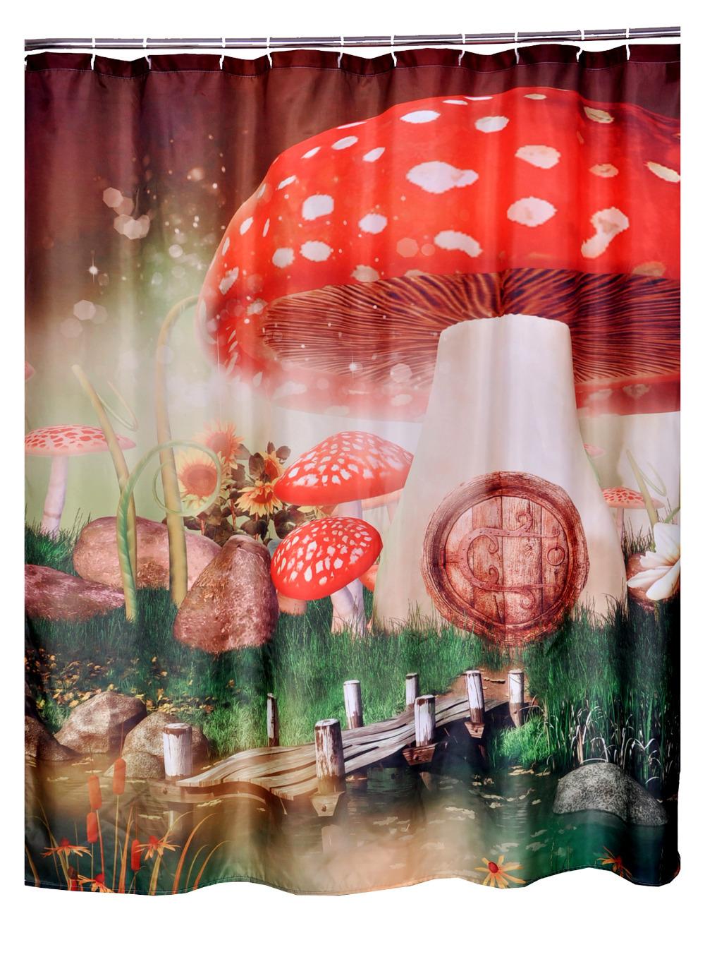 bathroom printed polyester fabric mushroom cartoon style shower