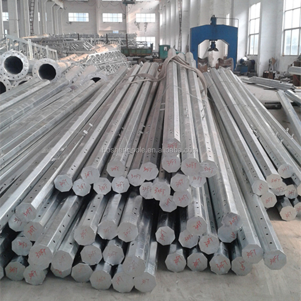 Galvanized Distribution Steel Pole 25FT 30FT 35FT