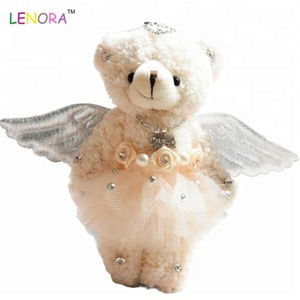 Popular design plush bear bags keychain toy angel bear lovers accessories promotion bear with angel wing gifts plush toy