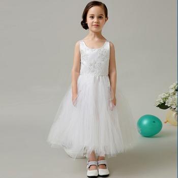 Kids Princess Wedding Dresses Puffy Ball Gown Rosette Little Queen Flower Dress Sleeveless Lace