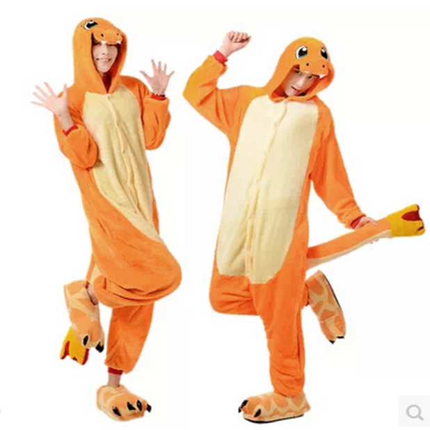 New Adult Charmander Cosplay Costume Fire Dragon Anime Pokemon Fleece Sleepwear  Pajamas Cute Unisex Onesie Charmander c75e2487f