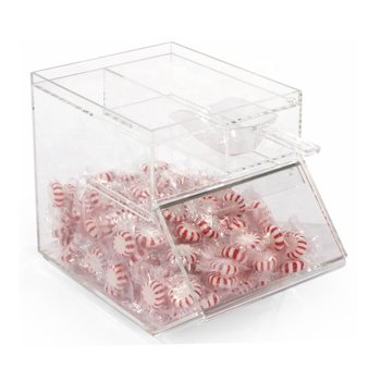 1 gallon acrylic candy display boxes with slide-In door & clear scoop