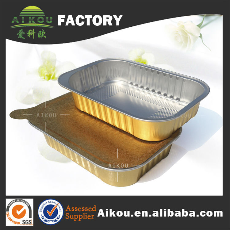printed logo convenient food storage oblong colored aluminium foil food containers