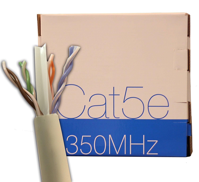 trueCABLE Cat5E Plenum (CMP), 1000ft, White, Bulk Ethernet Cable, 24AWG 4/PR, Unshielded Twisted Pair (UTP), Solid Bare Copper, 350 MHz, ETL Listed