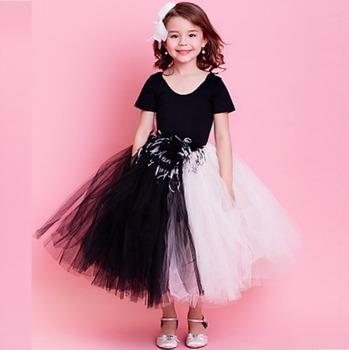 4aa23b3cf722a Profesyonel Kız Bale Tutu Kostüm Dancewear Elbise Çocuk Siyah ve Beyaz Tüy