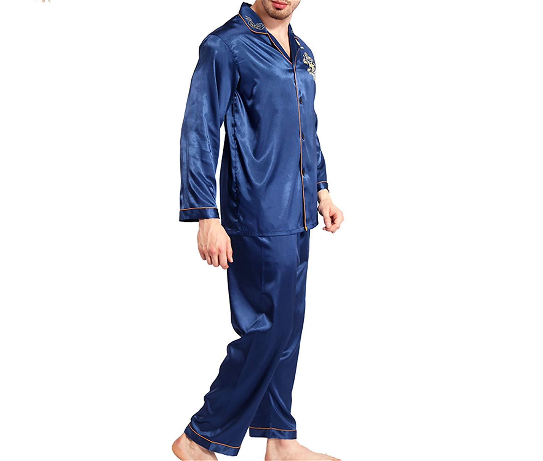 Get Quotations · Silk Pajamas Women Long Sleeve Solid Satin Pyjamas Men Love  Sleepwear Woman s Lounge Couples Pajama Sets 209d5c48f