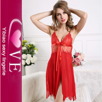 Deep V -Neck Erotic Sexy Nighty Image Hot Transparent Nightwear For Women