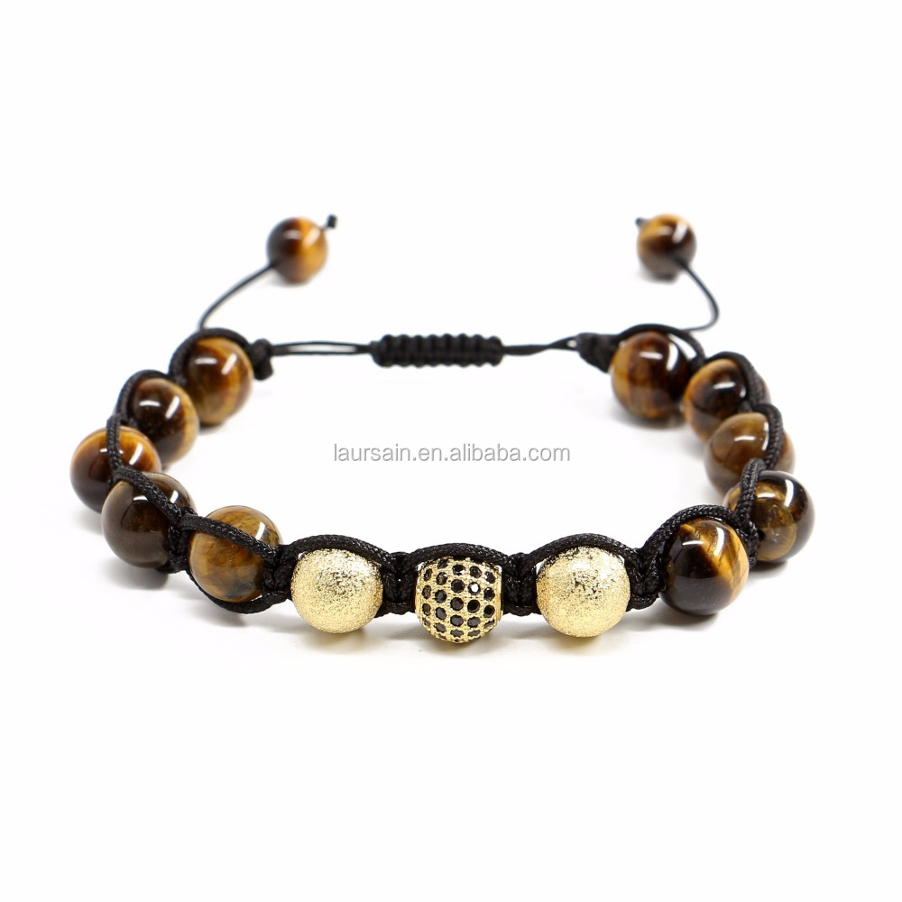 LS-D6904 Exclusive tiger eye macrame bracelet, cubic zircon pave beads handmade bracelet , high quality
