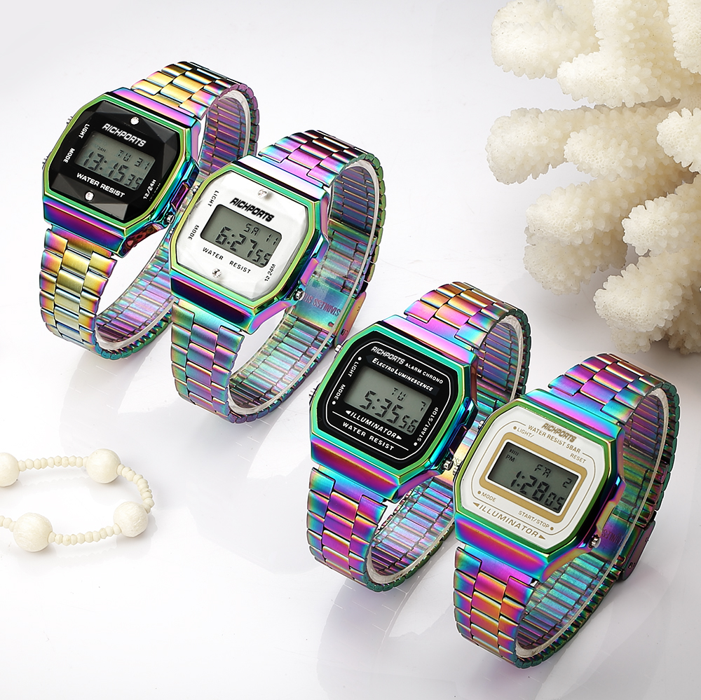reloj laser male New Arrival Dazzle Colorful stainless steel Digital Watches for  laser Women Luxury Litmus Tornasol Watch