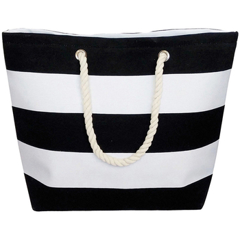 New Large Black White Striped Beach Bag Tote With Rope Handles ...