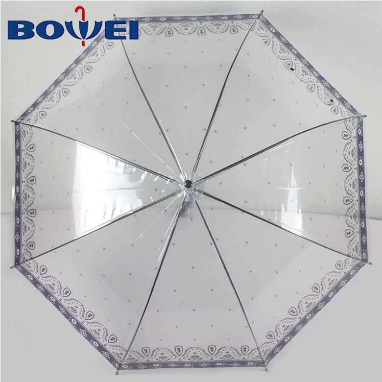 Transparent High Quality OEM New Design Apollo Clear Bubble PVC Dome Straight  Umbrella with Logo Printing