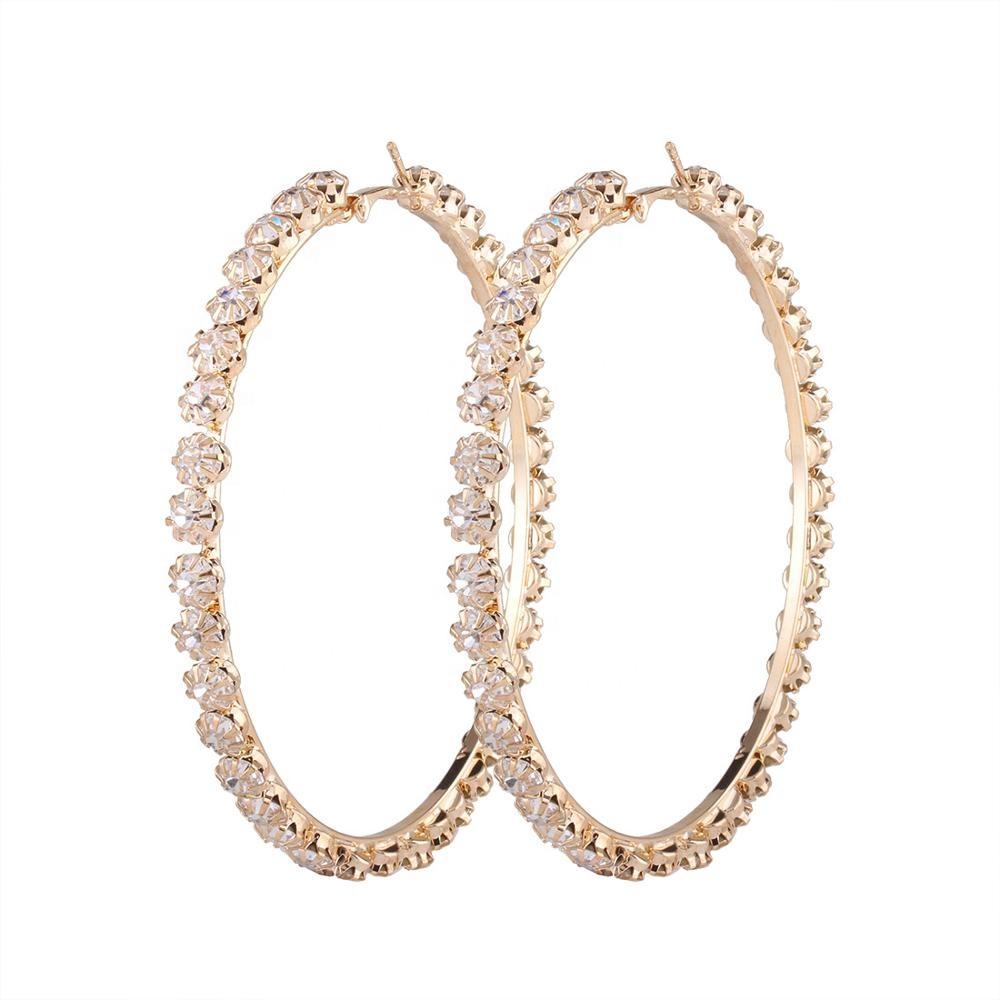 c91fbc09eef4 Nueva de moda elegante fiesta regalo chapado en oro plata círculo grande de  diamantes de imitación