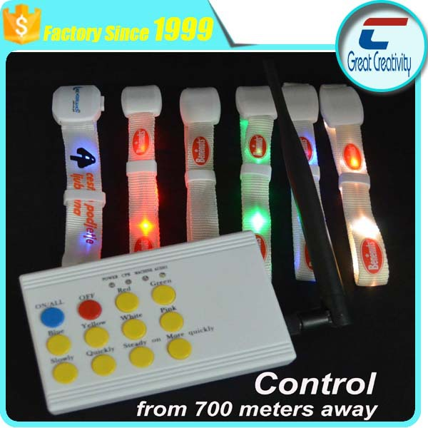 Radio Control Rgb Led Nylon Wristband For Event /500meters Remote ...