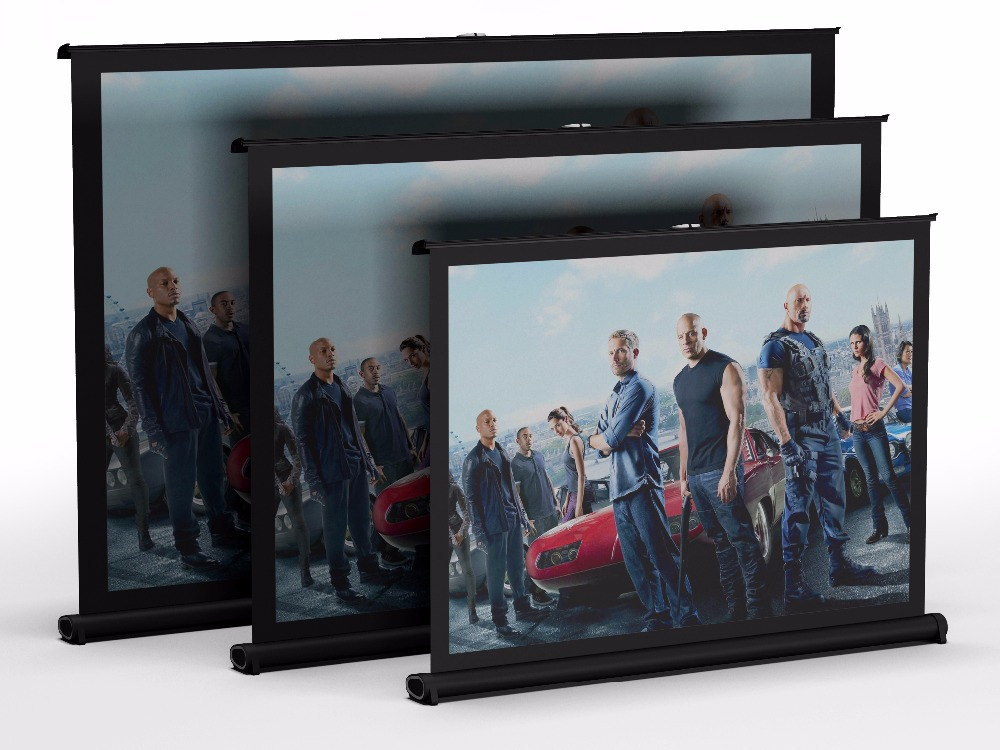 Metallic Fabric Tabletop Mini Projector Screen Projection with Carrying Bag Conference Office