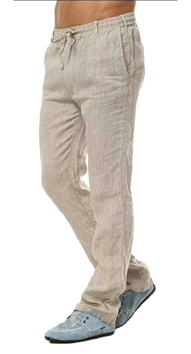 Comaba Men Lightweight Elastic Waist Straight Loose Fit Summer Casual Pants