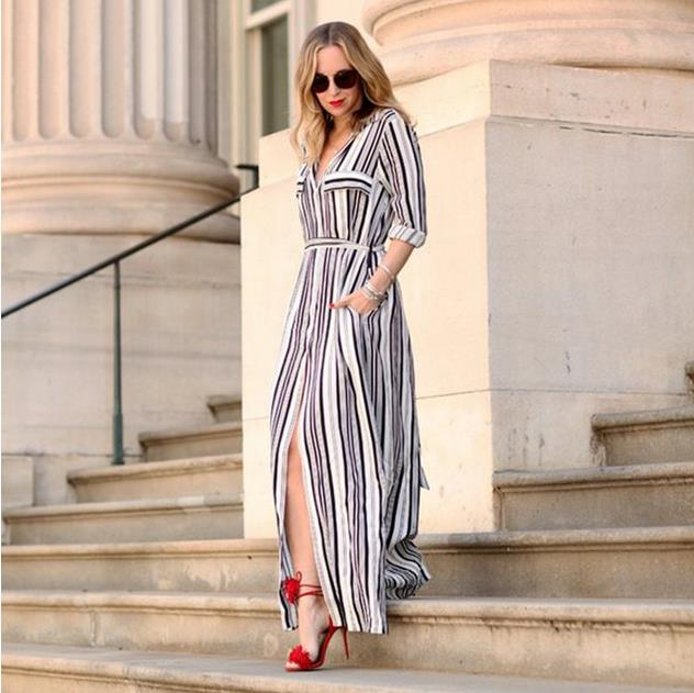 Summer chiffon women <strong>dress</strong> with pocket striped long sleeve maxi <strong>dress</strong> for ladies