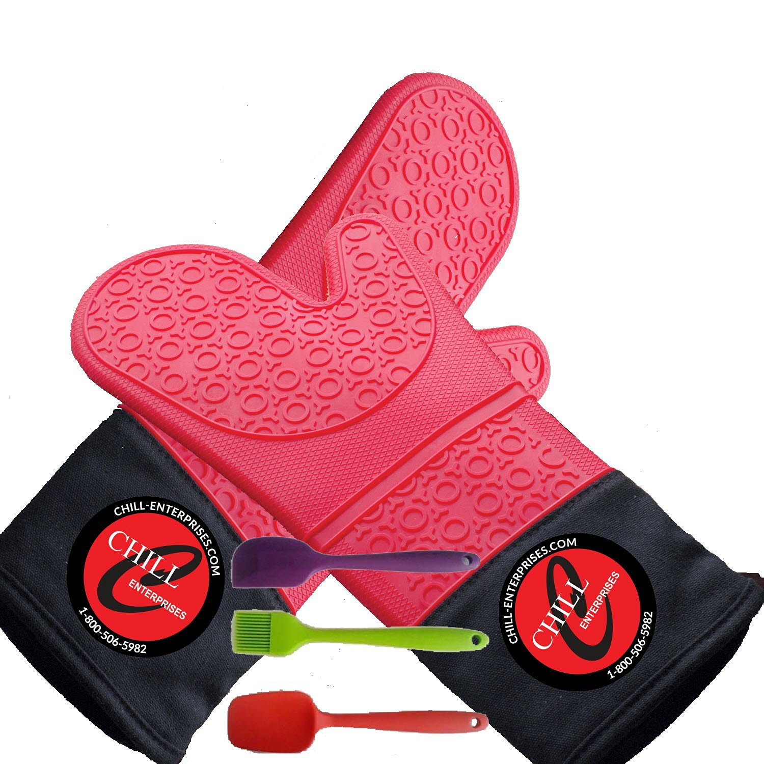 The Amazing Gator Mitts - 5 Piece Silicone Oven Safety Mitt Bundle - 1 Pair Mitt And 3 Silicone Utensils Red