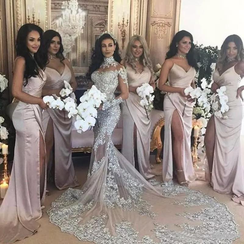 cfa91b70d5 Vintage de lujo de boda árabe vestidos manga larga cuello alto cuentas  sirena largo tren brillante