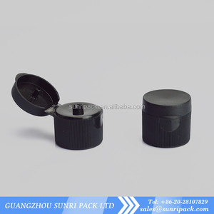 Black PP 24-410 ribbed skirt hinged flip top snap cap dispensing cap