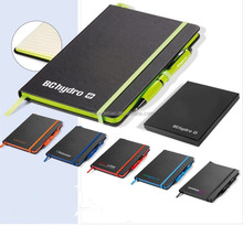 Hot Sale Notebook with colorful elastic band & pen, Side printing colorful Notebook set of gift notebook with black box