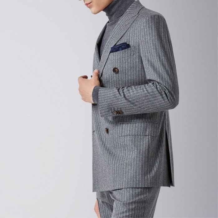 Custom tailored grey stripped suit men